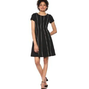 NWT Adrianna Papell Piping Ornate Short Sleeve Ottoman Dress in Black with White